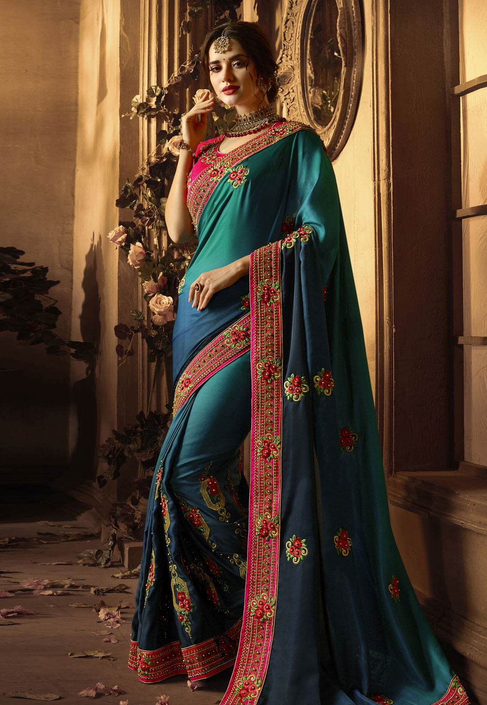 Blue Silk Party Wear Saree 154266