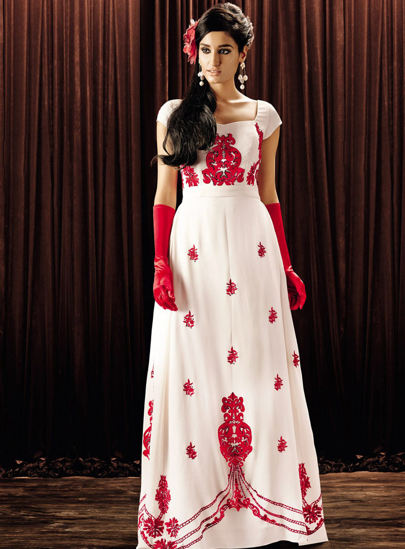 Off White Georgette Floor Length Readymade Gown 67060