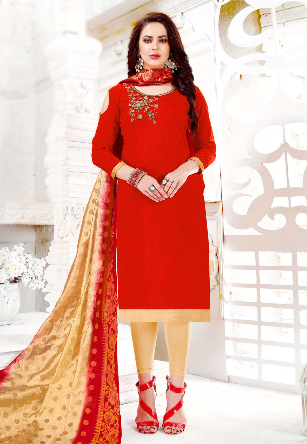 Red Cotton Pant Style Suit 155486