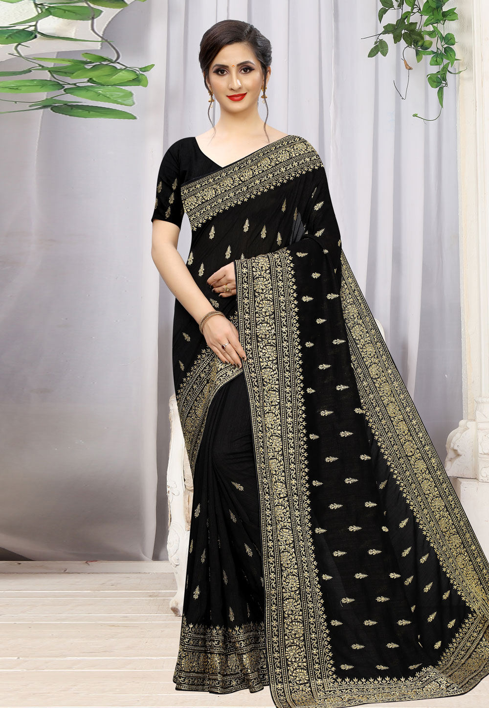 Black Silk Festival Wear Saree 198569