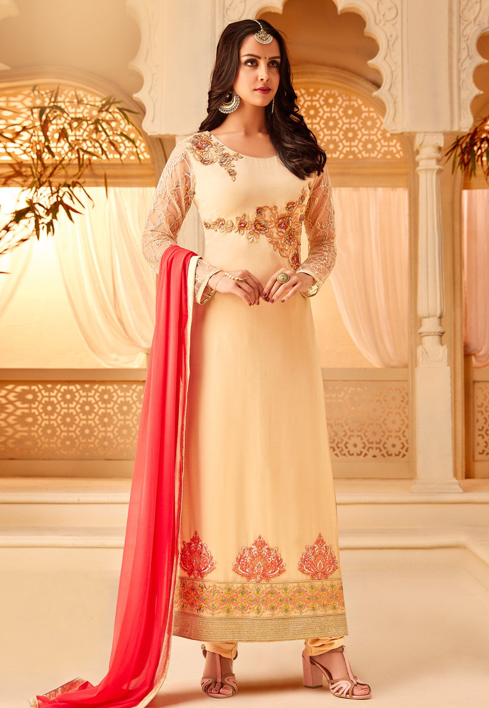 Beige Georgette Embroidered Straight Cut Suit 167055