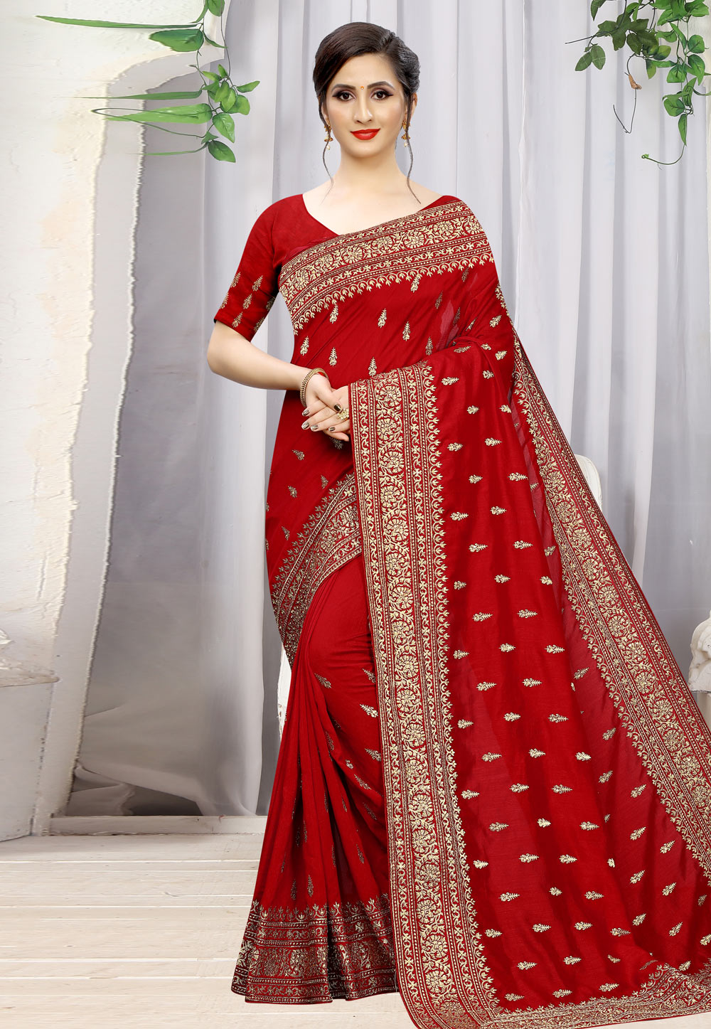 Red Silk Saree With Blouse 198570