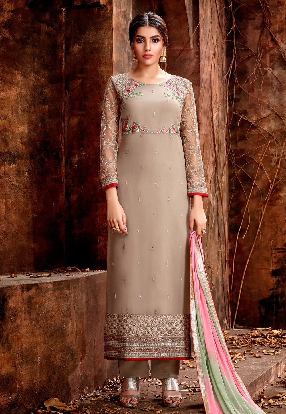 Beige Georgette Embroidered Straight Cut Suit 177794