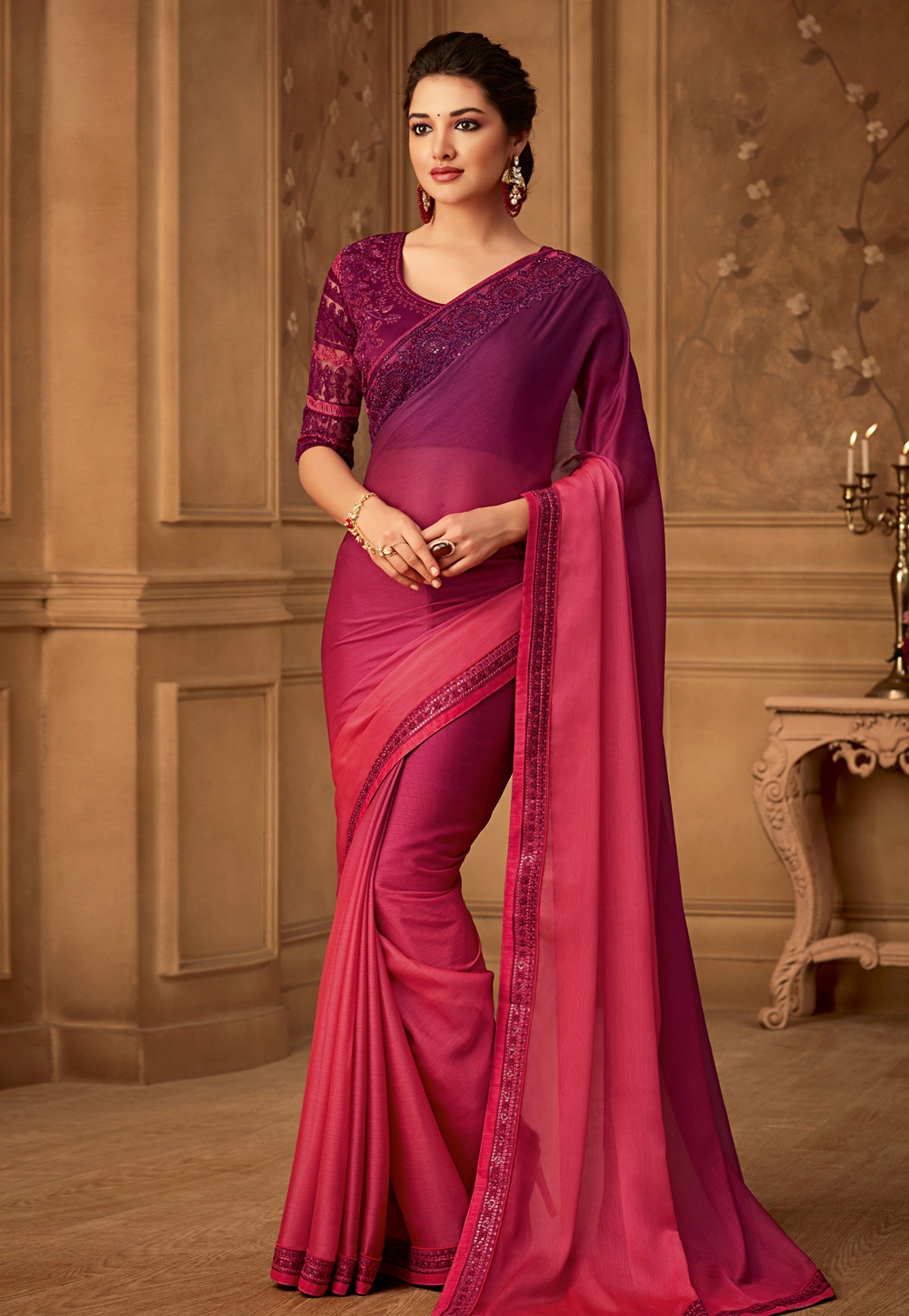 Pink Silk Embroidered Saree With Blouse 170141