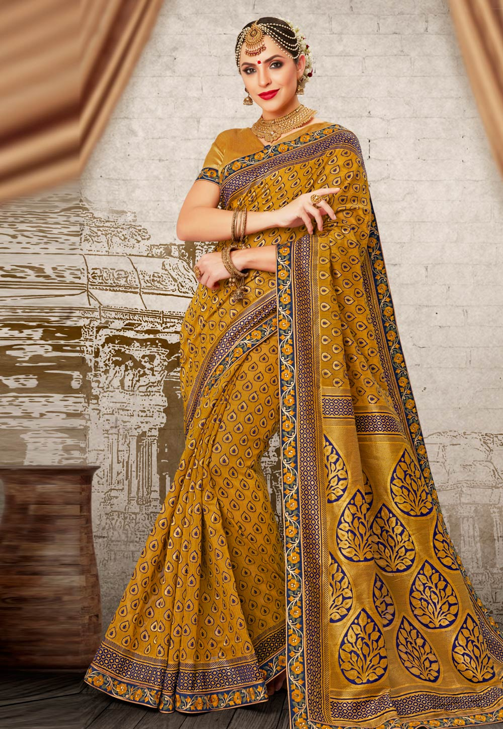 Mustard Banarasi Saree With Blouse 181268