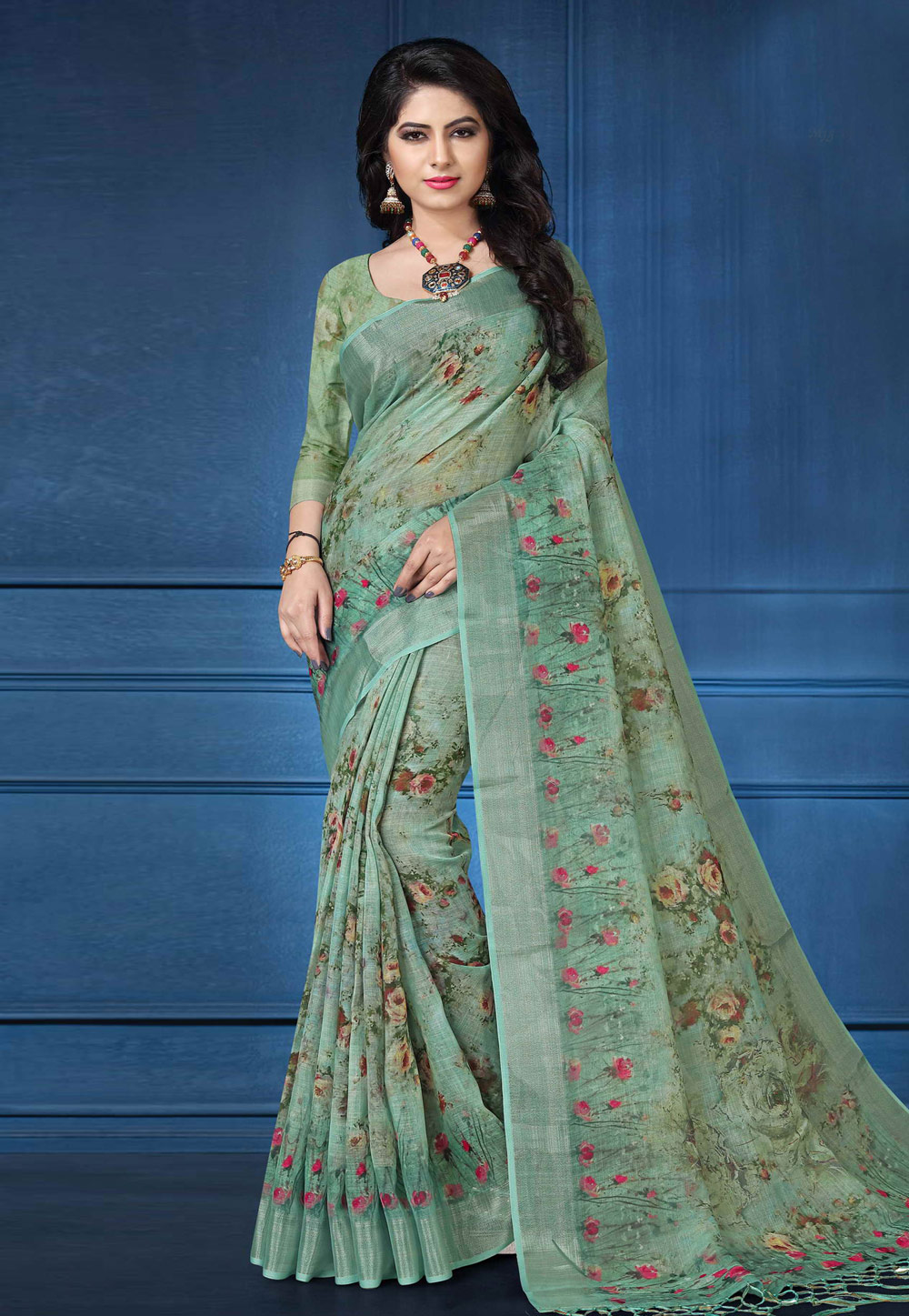 Green Linen Festival Wear Saree 161567