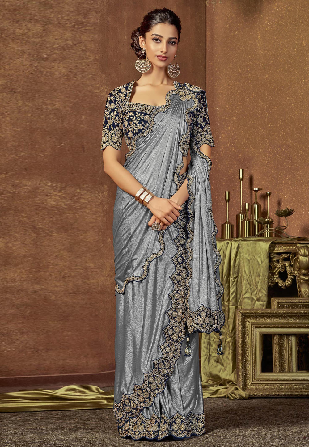 Grey Shimmer Embroidered Designer Saree With Blouse 166008