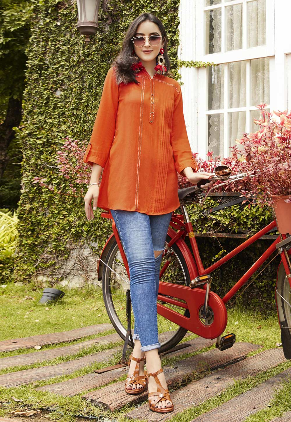 Orange Rayon Readymade Short Kurti 156464