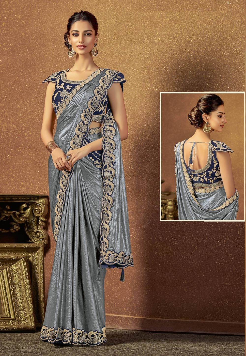 Grey Shimmer Embroidered Party Wear Saree 166014