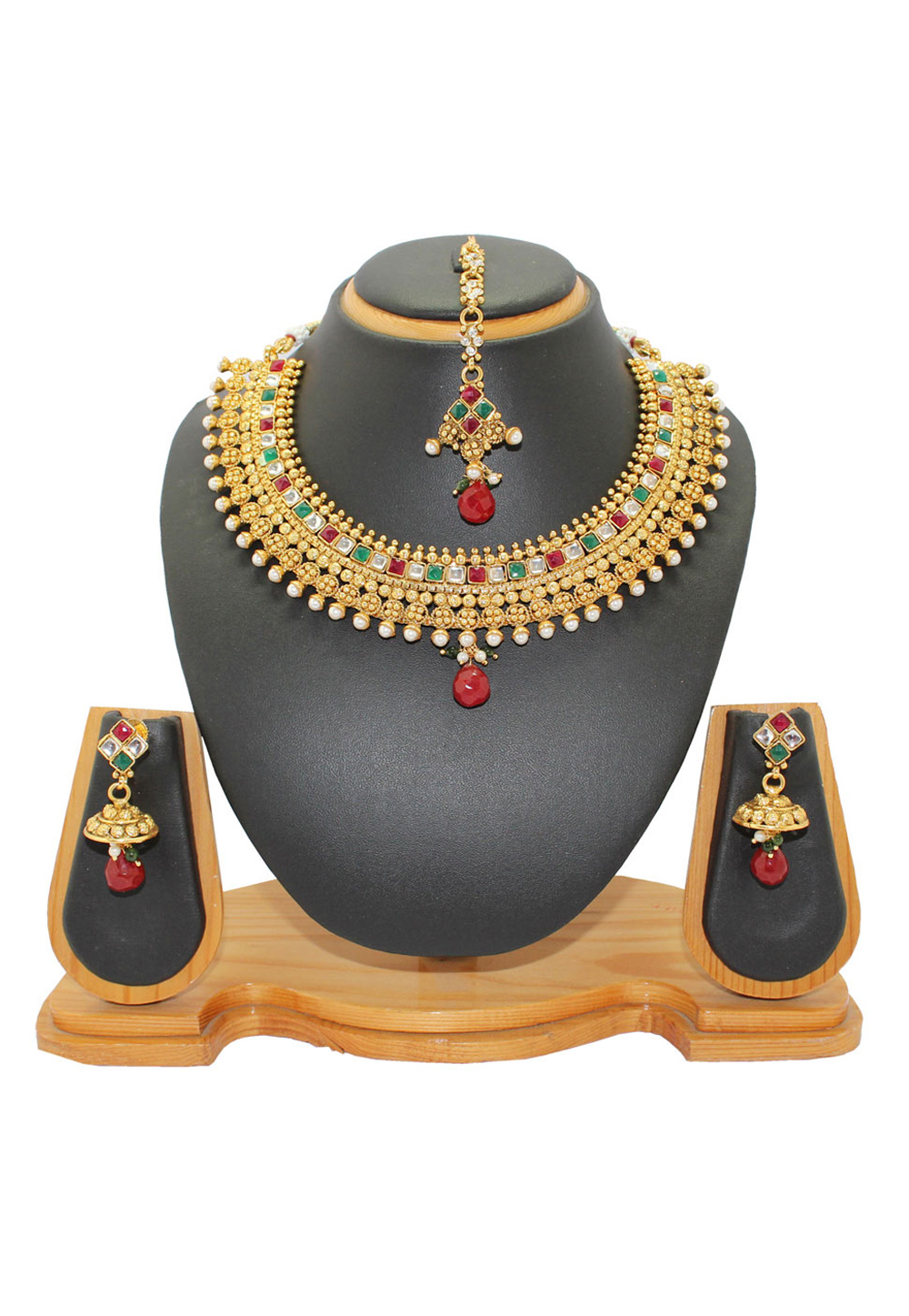 Maroon Copper Imitation Pears Necklace With Earrings and Maang Tikka 64330
