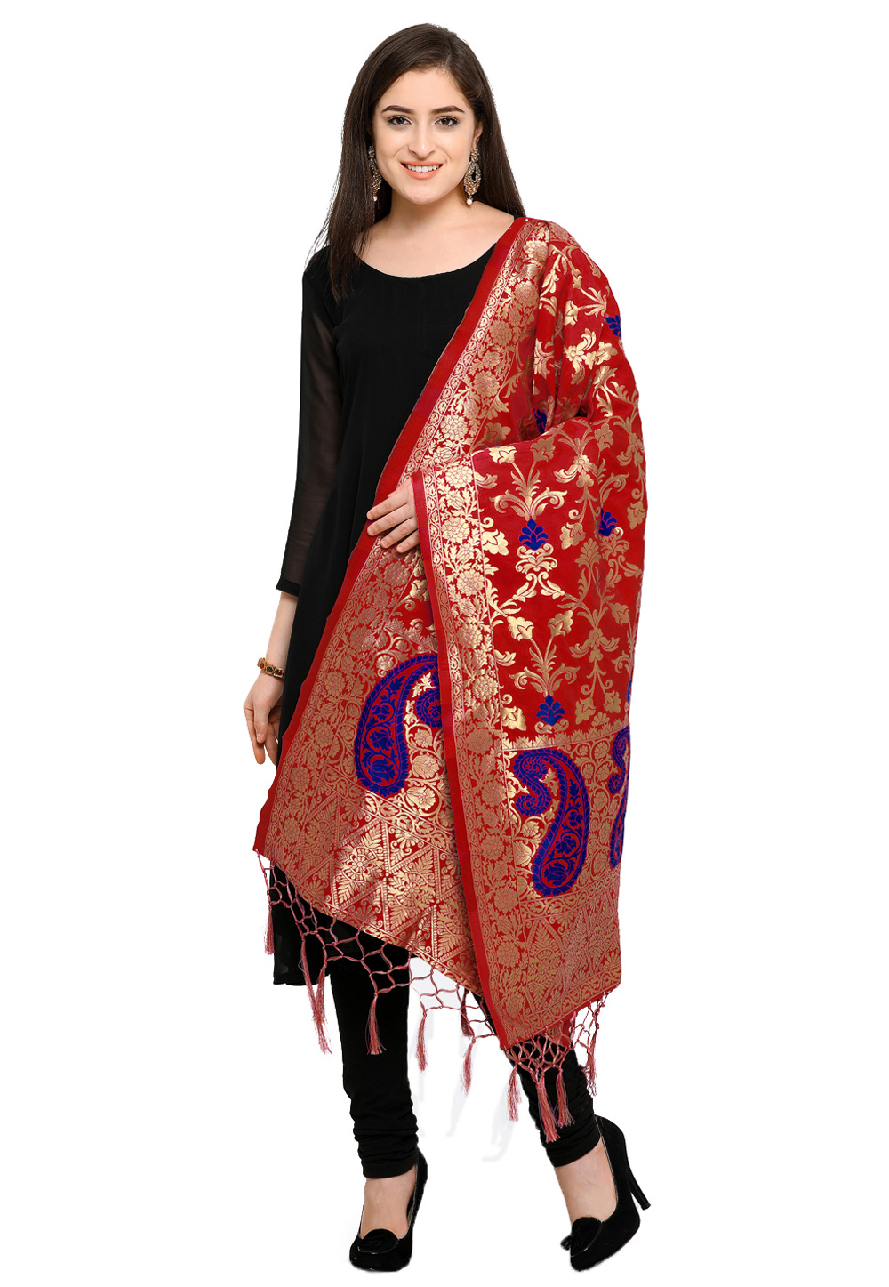 Red Banarasi Silk Dupatta 162773