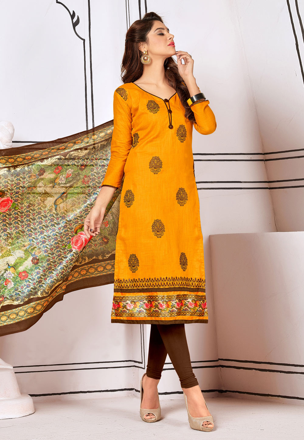 Mustard Cotton Churidar Salwar Kameez 156639