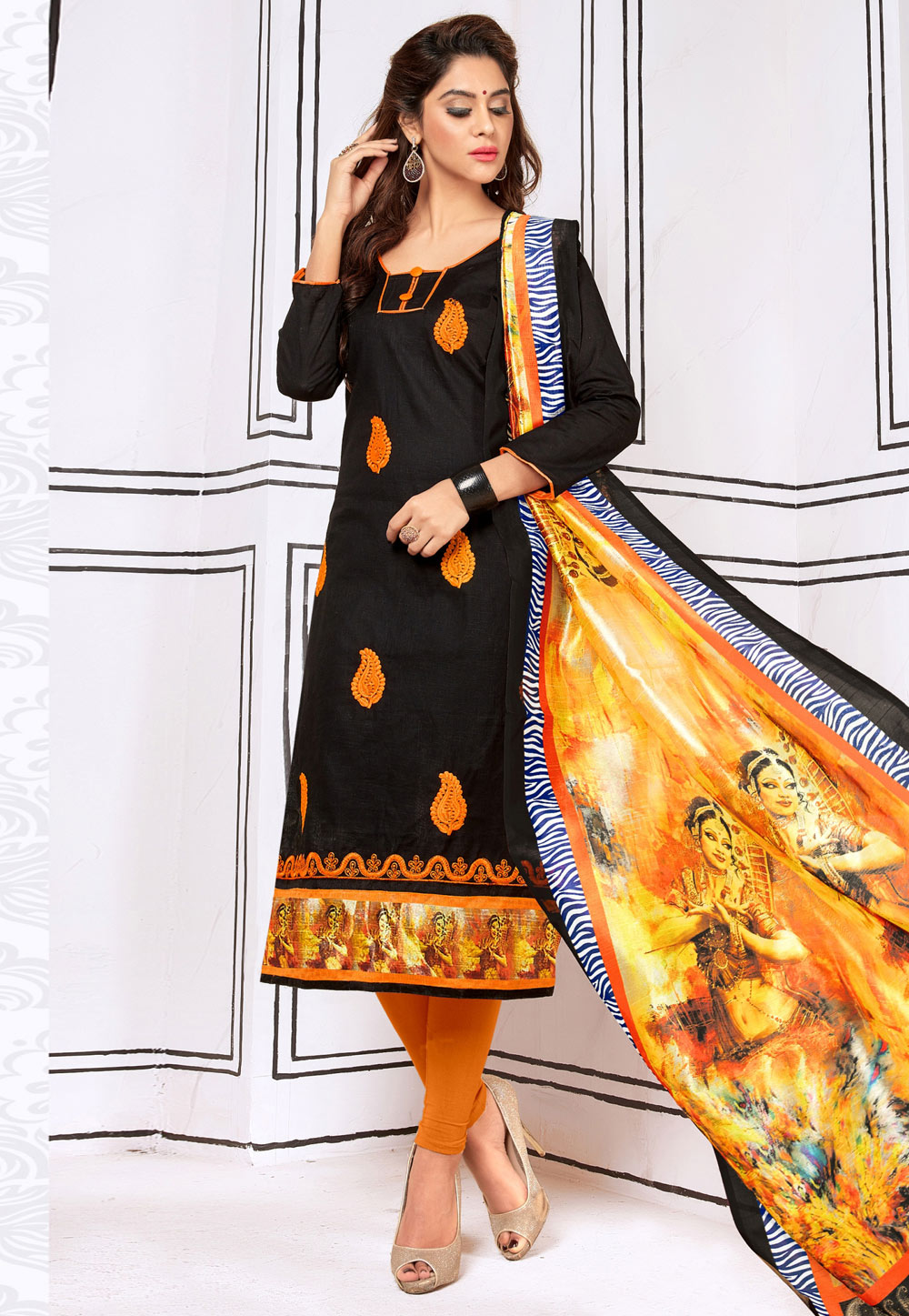 Black Cotton Churidar Suit 156640