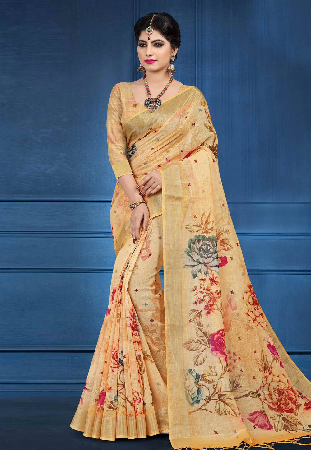 Beige Linen Saree With Blouse 161571
