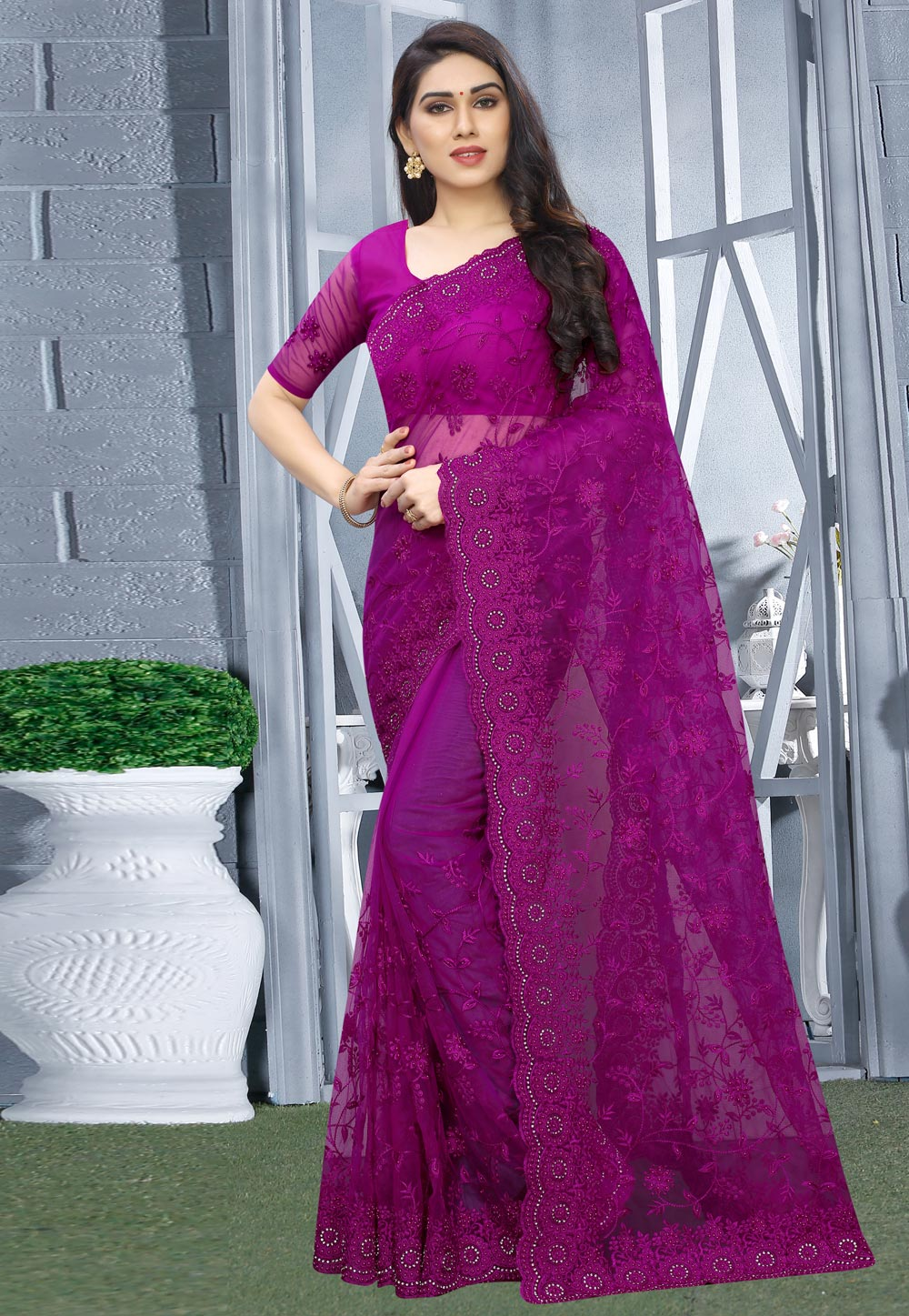 Magenta Net Saree With Blouse 200409