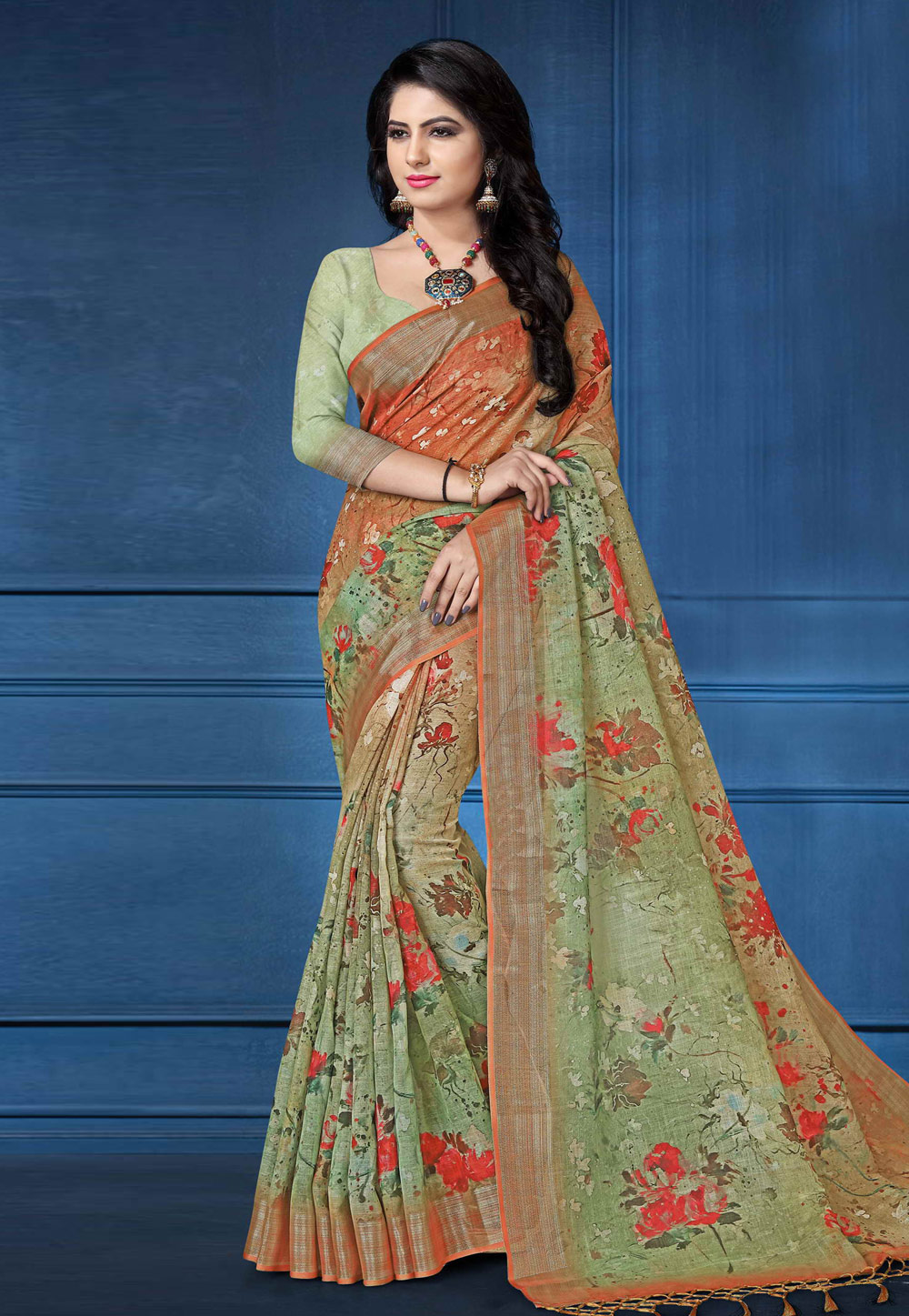 Green Linen Saree With Blouse 161573
