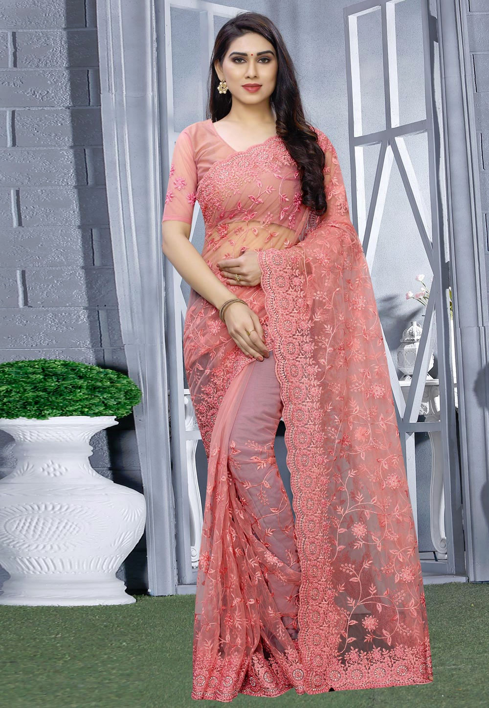 Pink Net Festival Wear Saree 200410