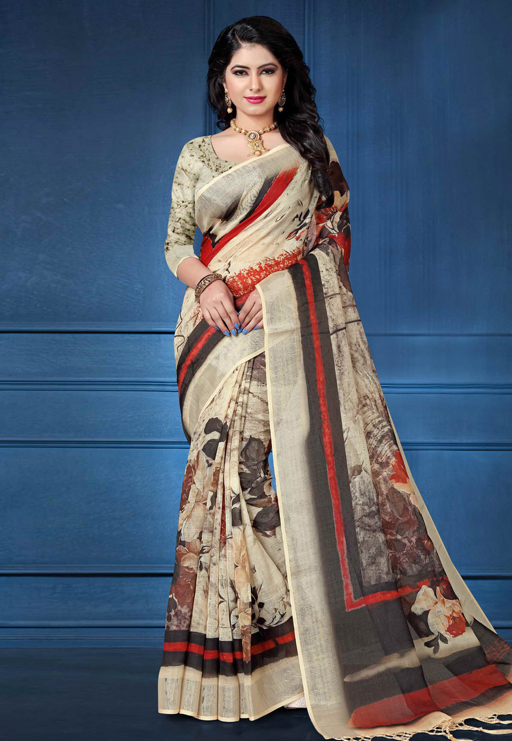 Beige Linen Saree With Blouse 161575