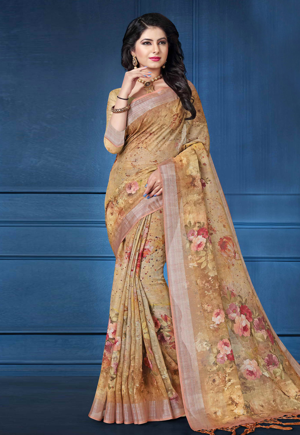 Beige Linen Saree With Blouse 161577