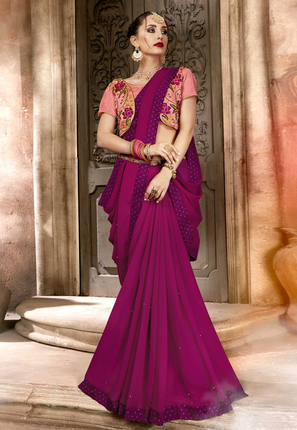 Magenta Georgette Saree With Blouse 157313