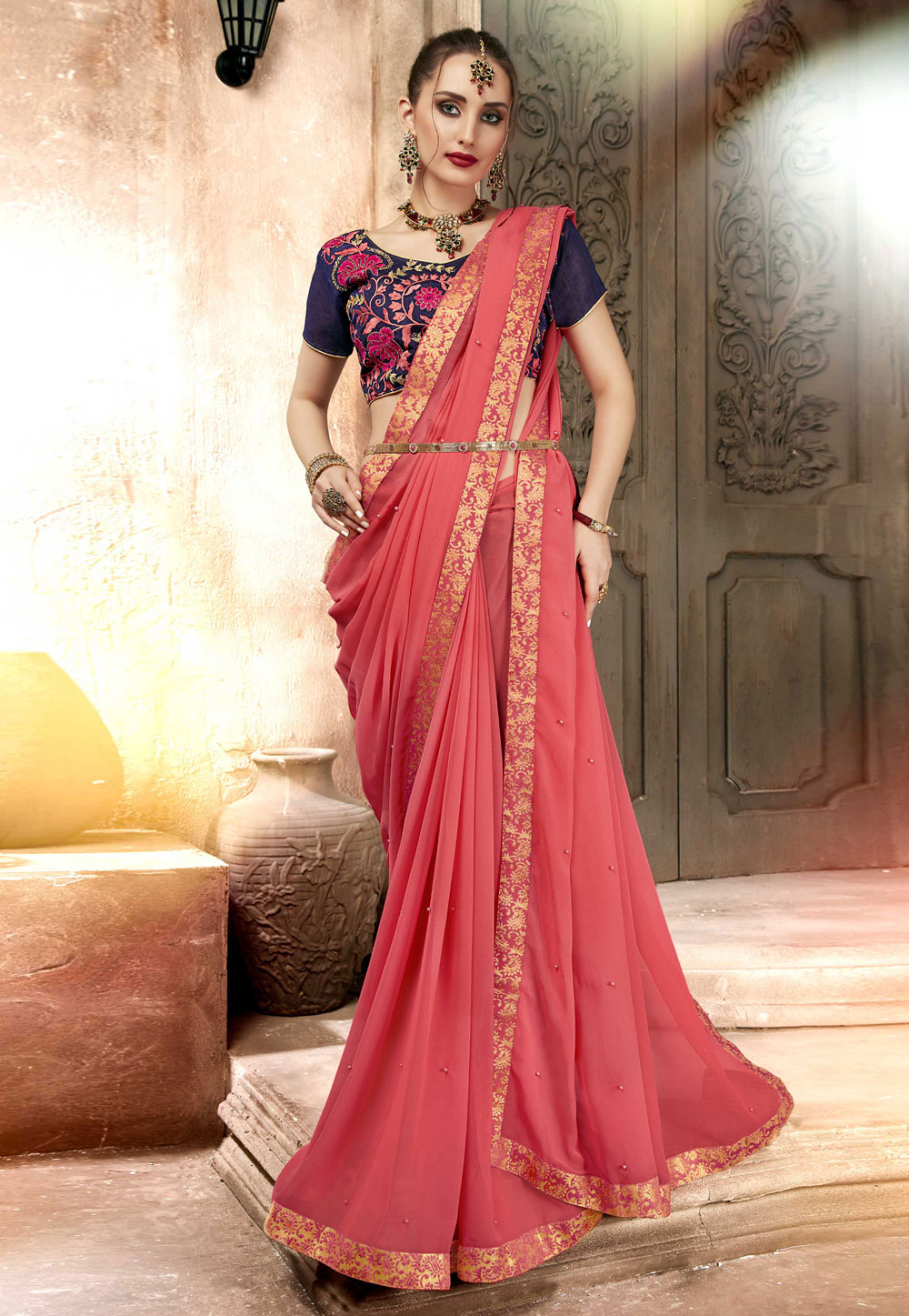 Pink Georgette Saree With Blouse 157315