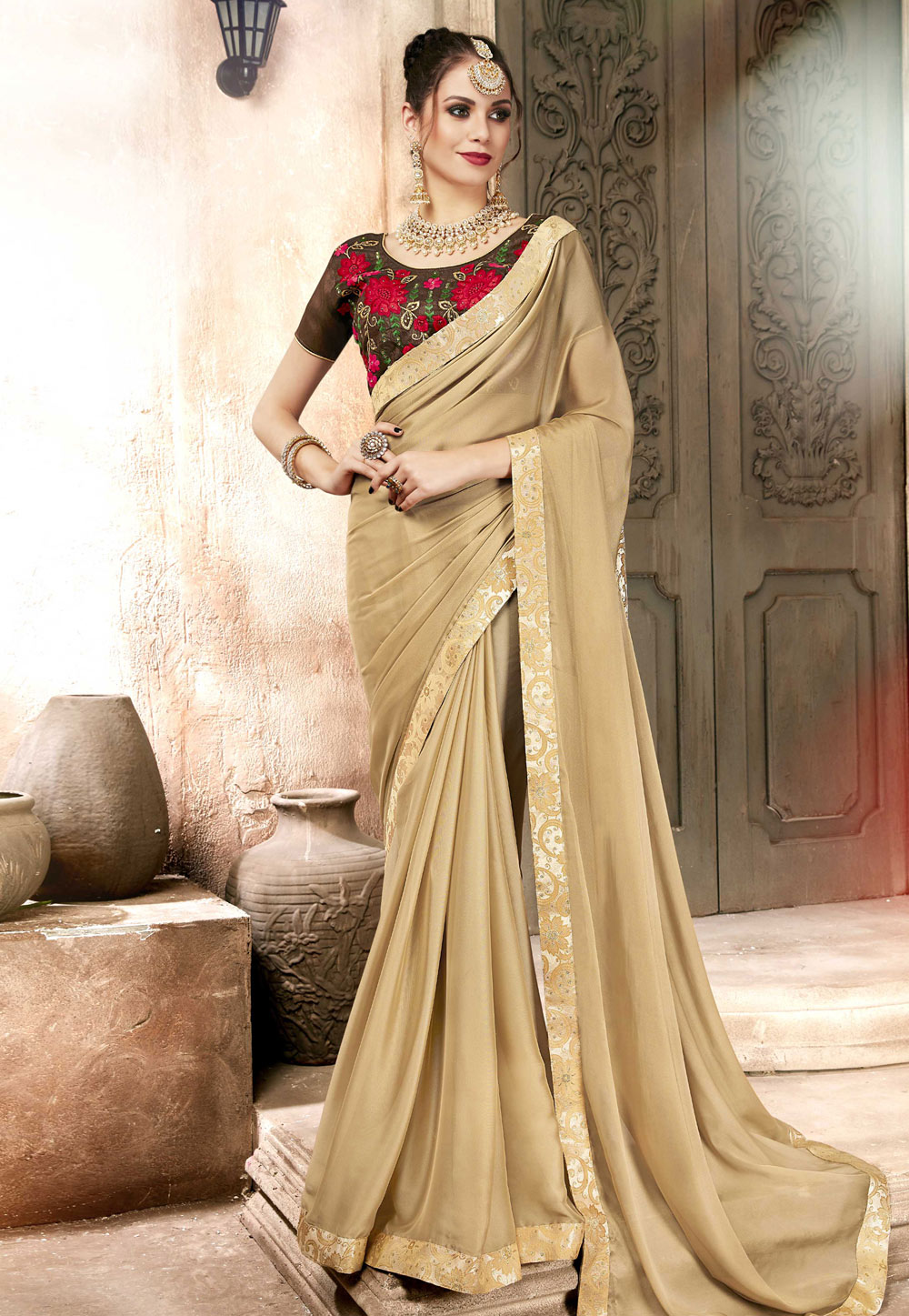 Beige Georgette Festival Wear Saree 157318
