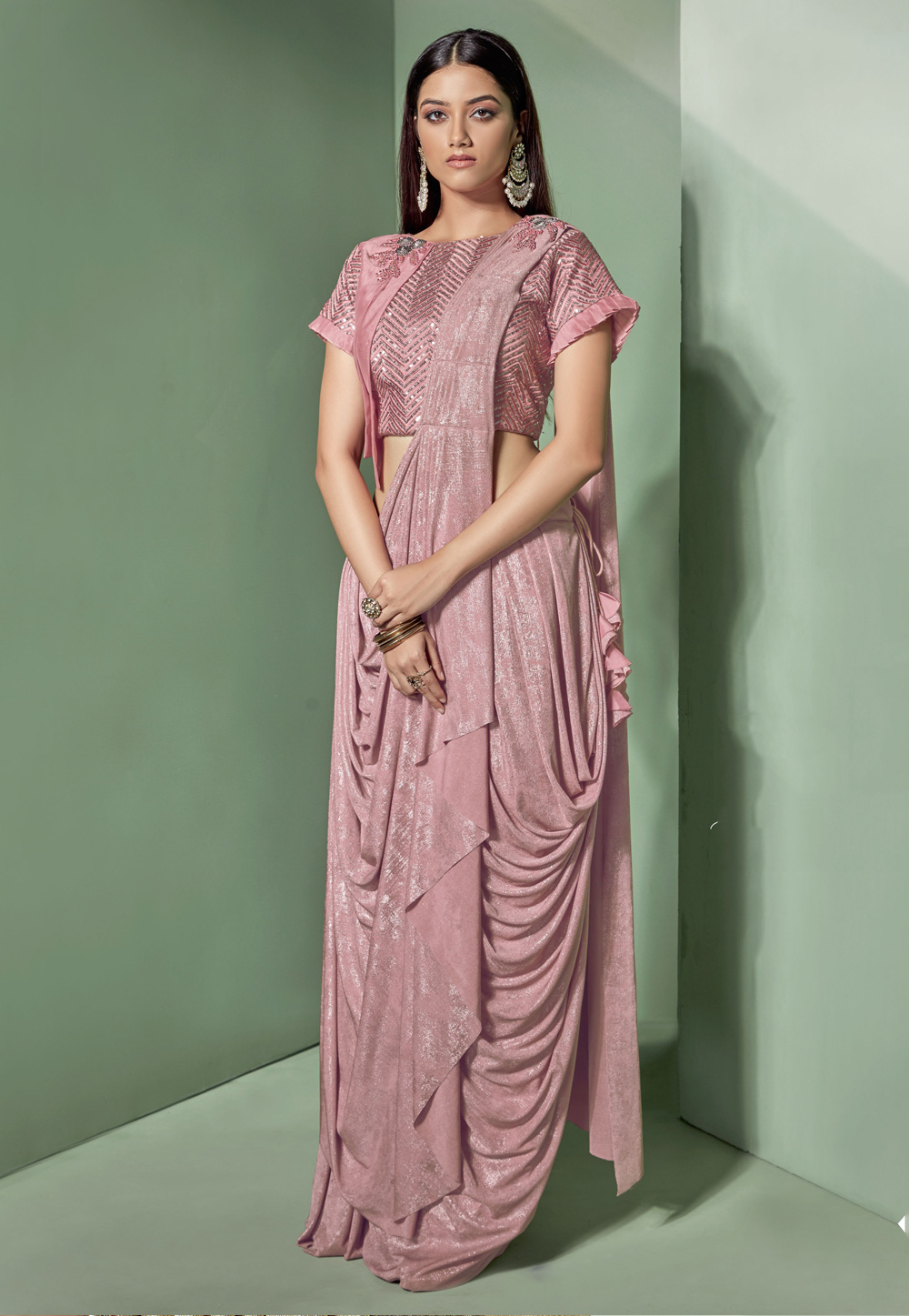 Pink Lycra Frilled Party Wear Saree 170147