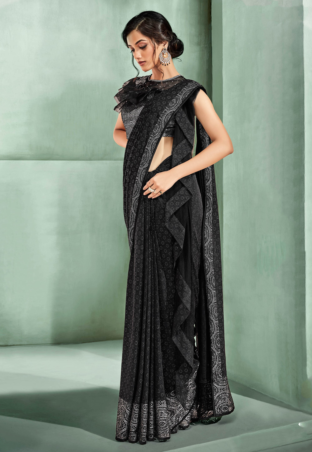 Black Lycra Party Wear Saree 170159