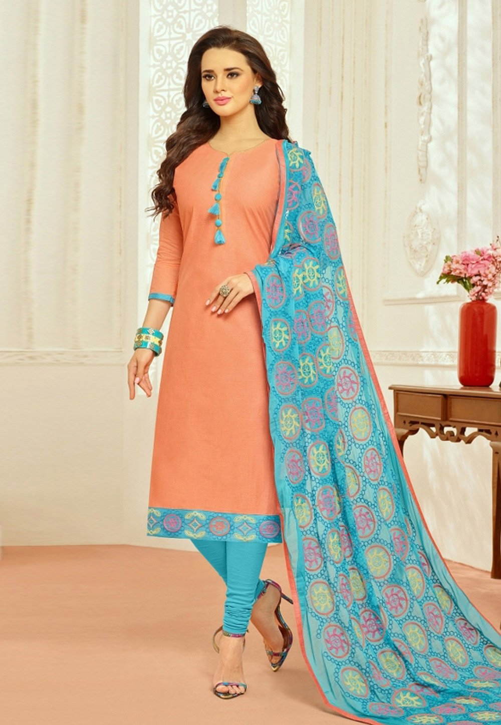 Peach Cambric Cotton Churidar Salwar Kameez 159857