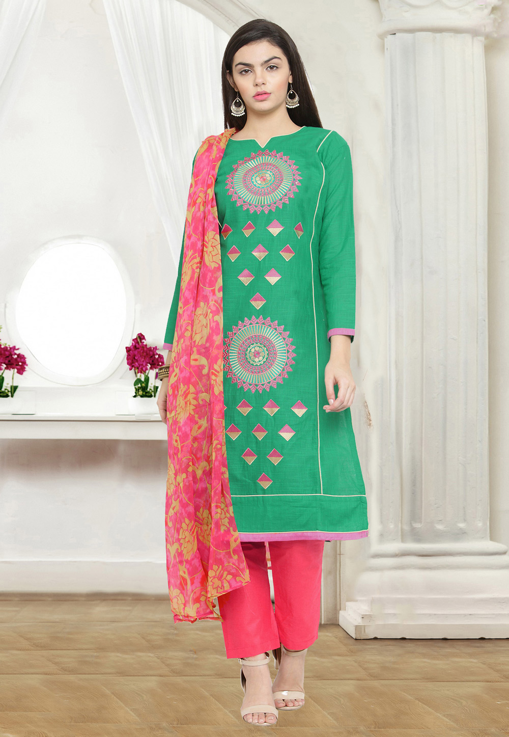 Green Chanderi Pant Style Suit 159751