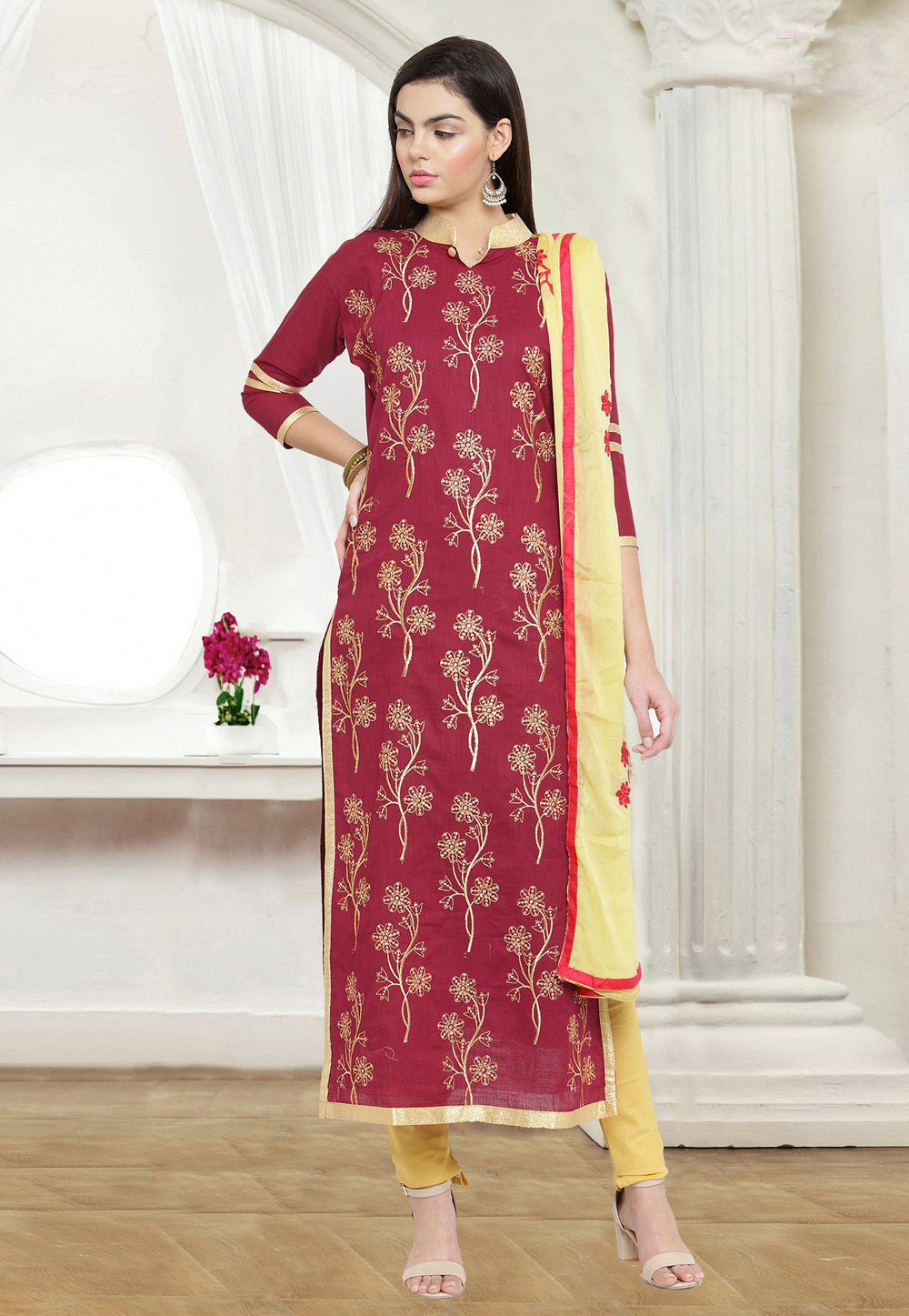 Magenta Cotton Churidar Suit 159771