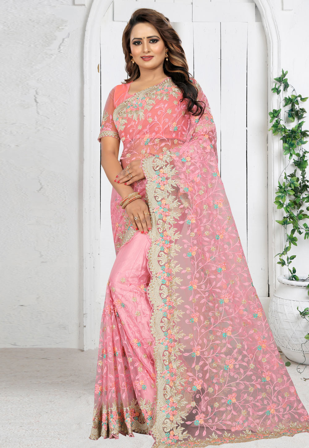 Pink Net Saree With Blouse 201962