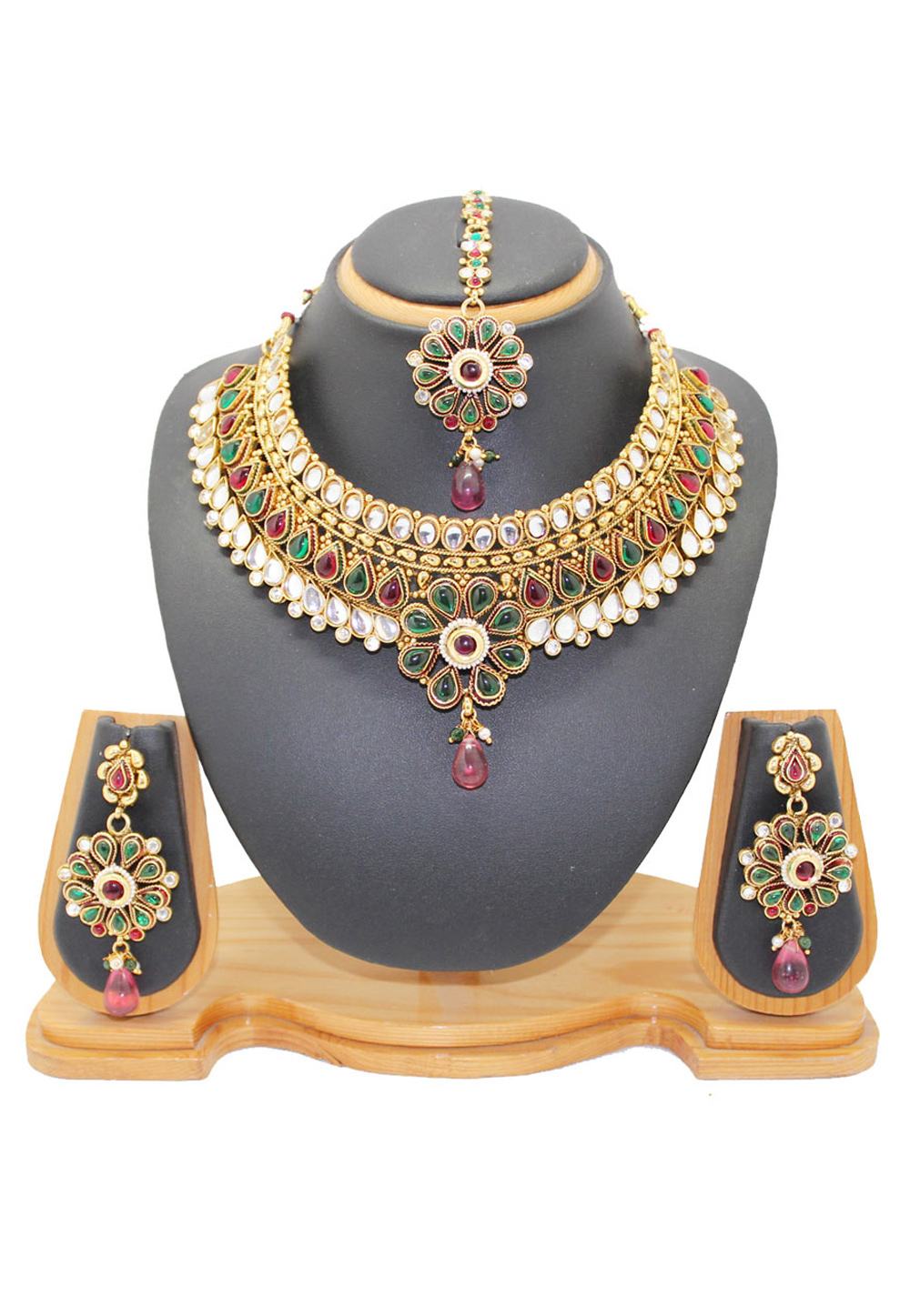 Maroon Copper Austrian Diamonds Necklace With Earrings and Maang Tikka 64385