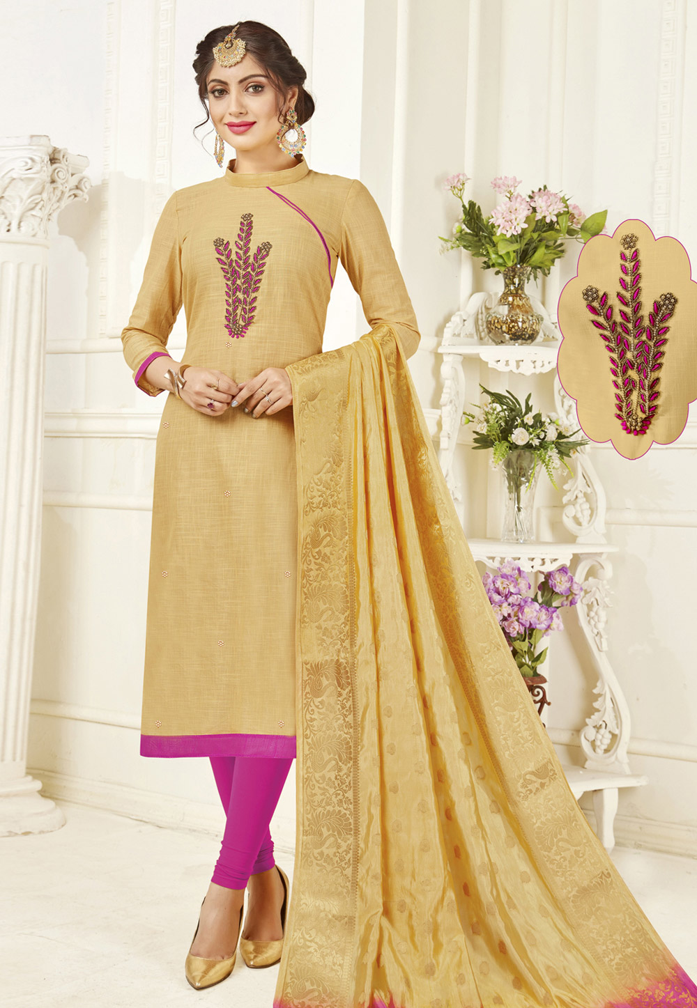 Beige Cotton Churidar Suit 158733