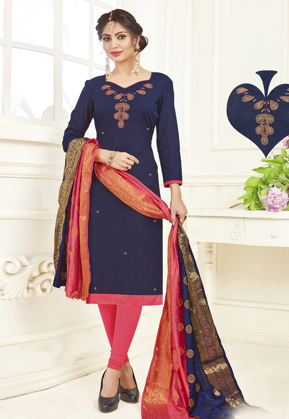 Navy Blue Cotton Churidar Salwar Kameez 158734