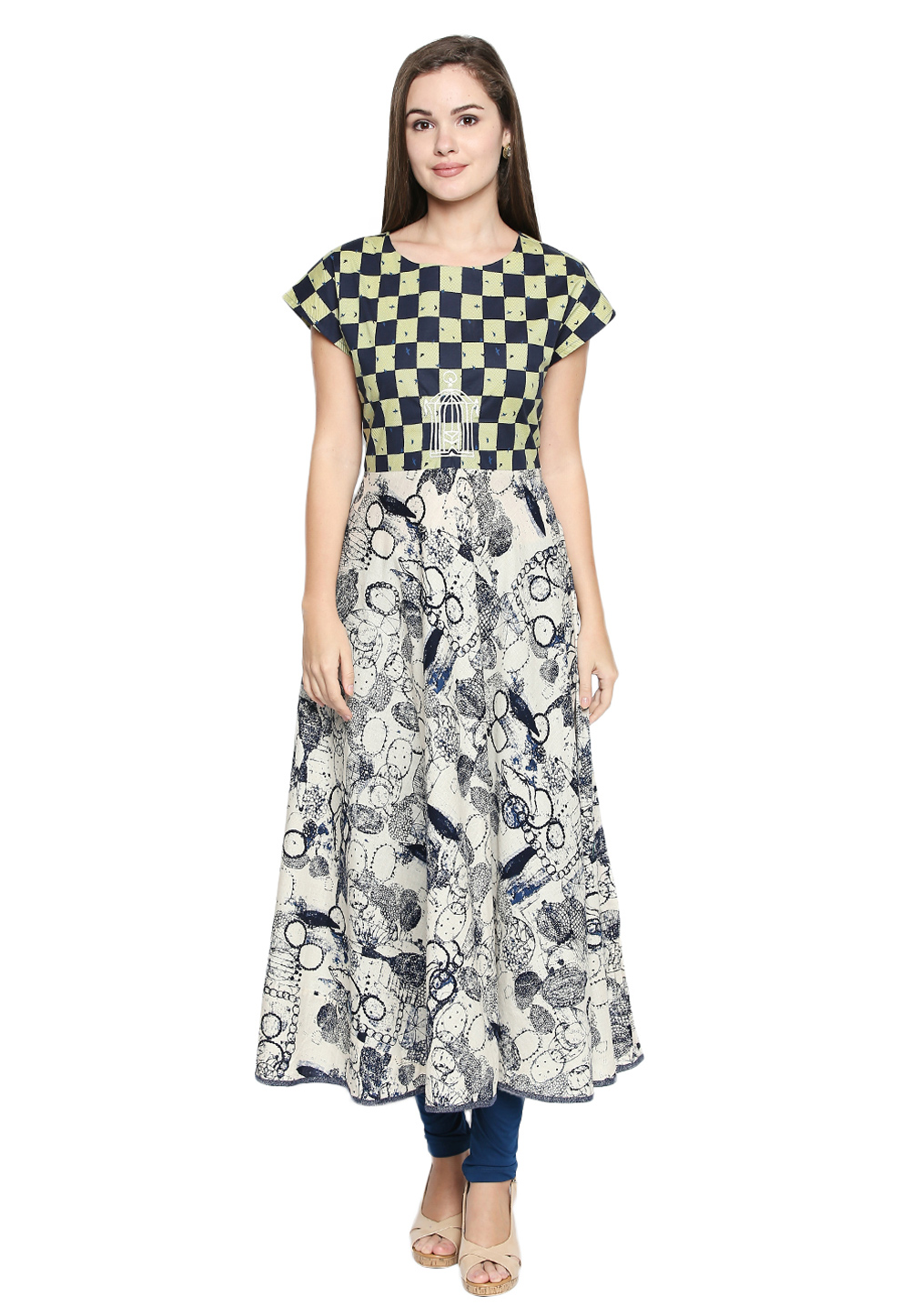 Off White Cotton Readymade Printed Tunic 170205