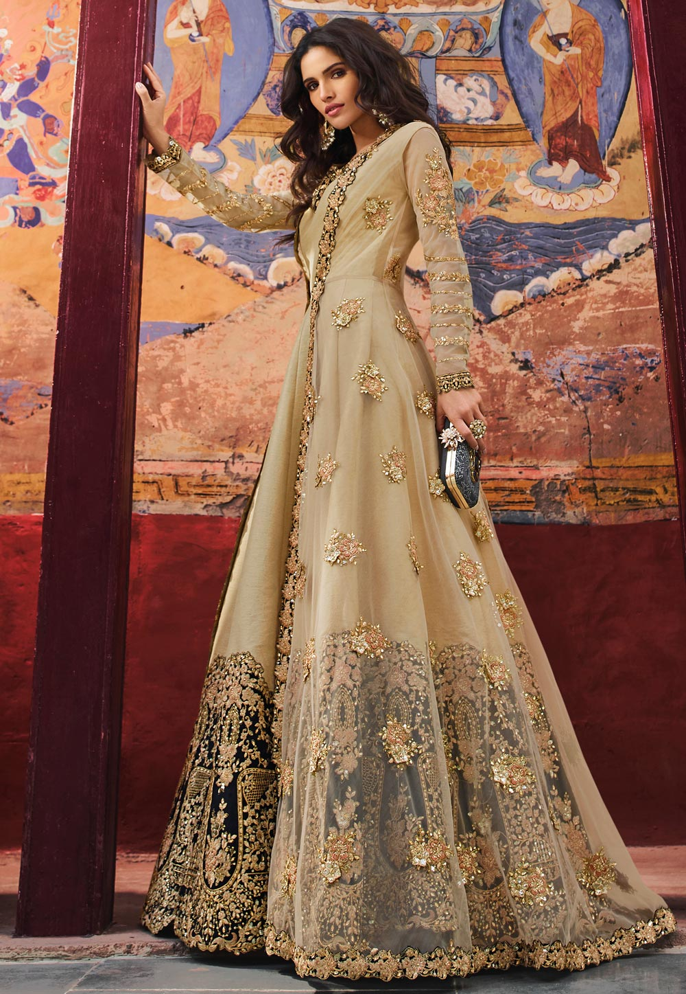 Beige Silk Embroidered Jacket Style Anarkali Suit 178072