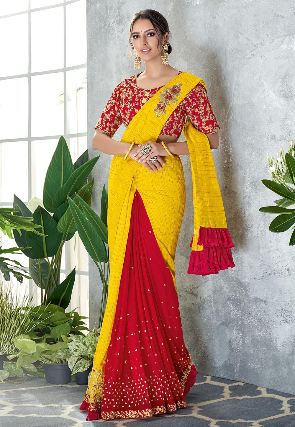 Yellow Silk Half and Half Saree 185218