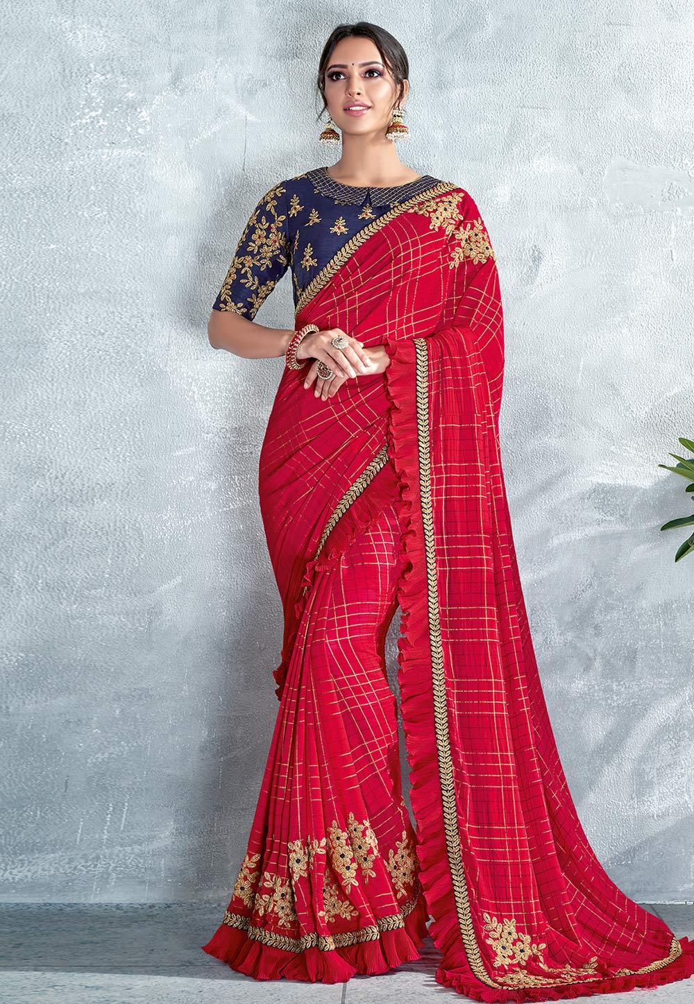 Red Silk Saree With Blouse 185222