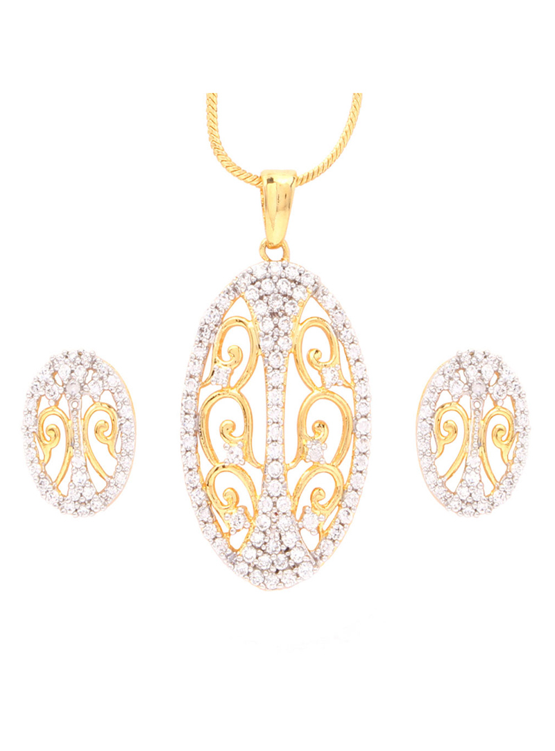 Silver Alloy Cz Diamonds Necklace With Earrings 64515