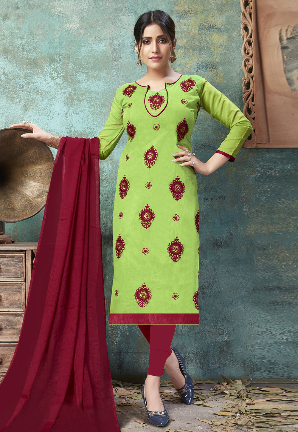 Green Chanderi Pant Style Suit 160853