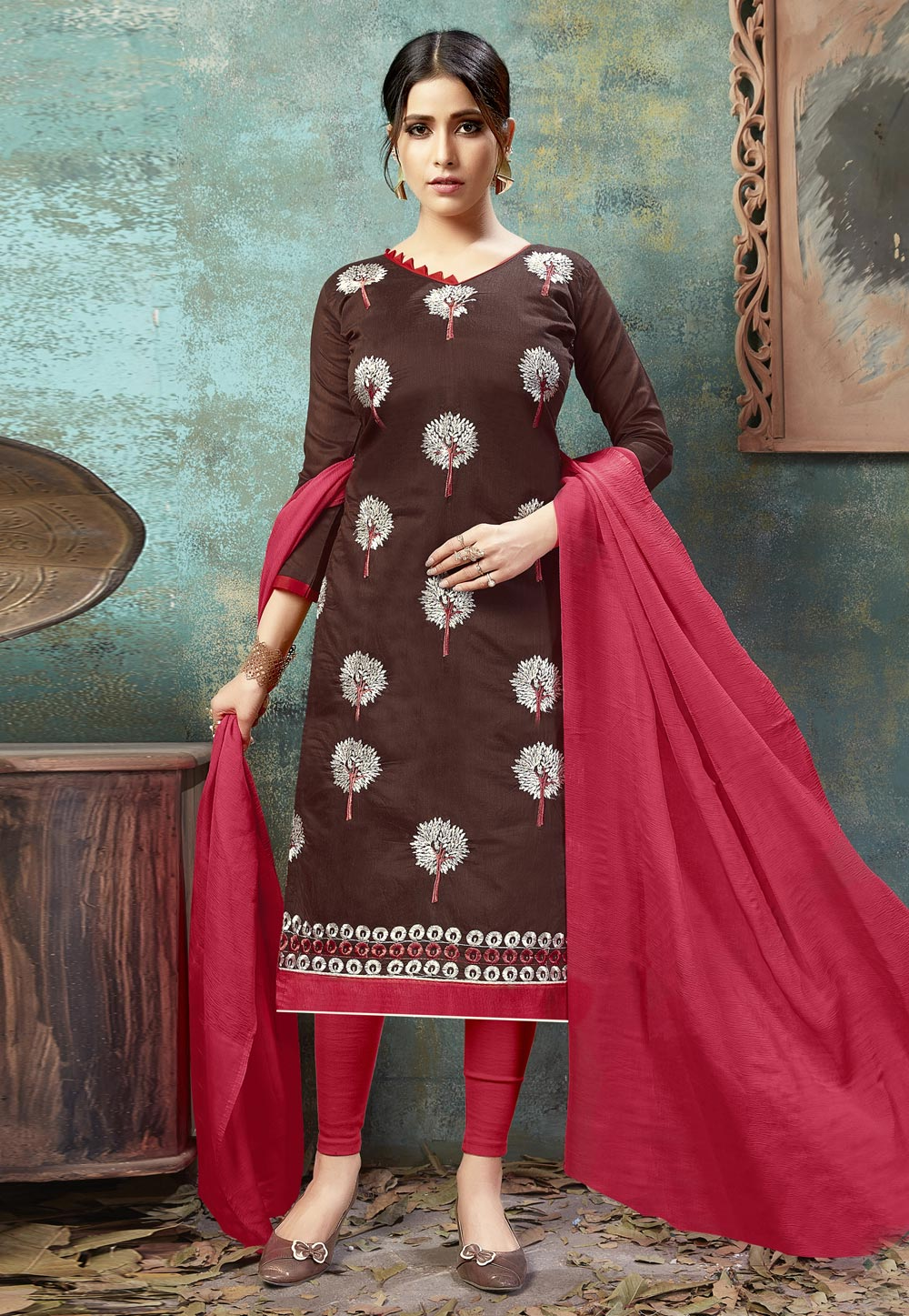 Brown Chanderi Pant Style Suit 160855