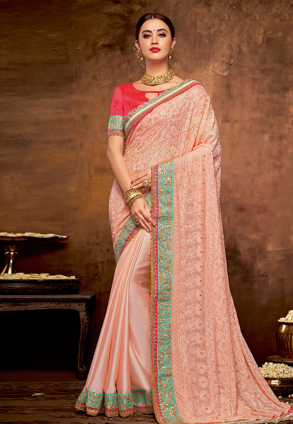 Peach Georgette Festival Wear Saree 190537