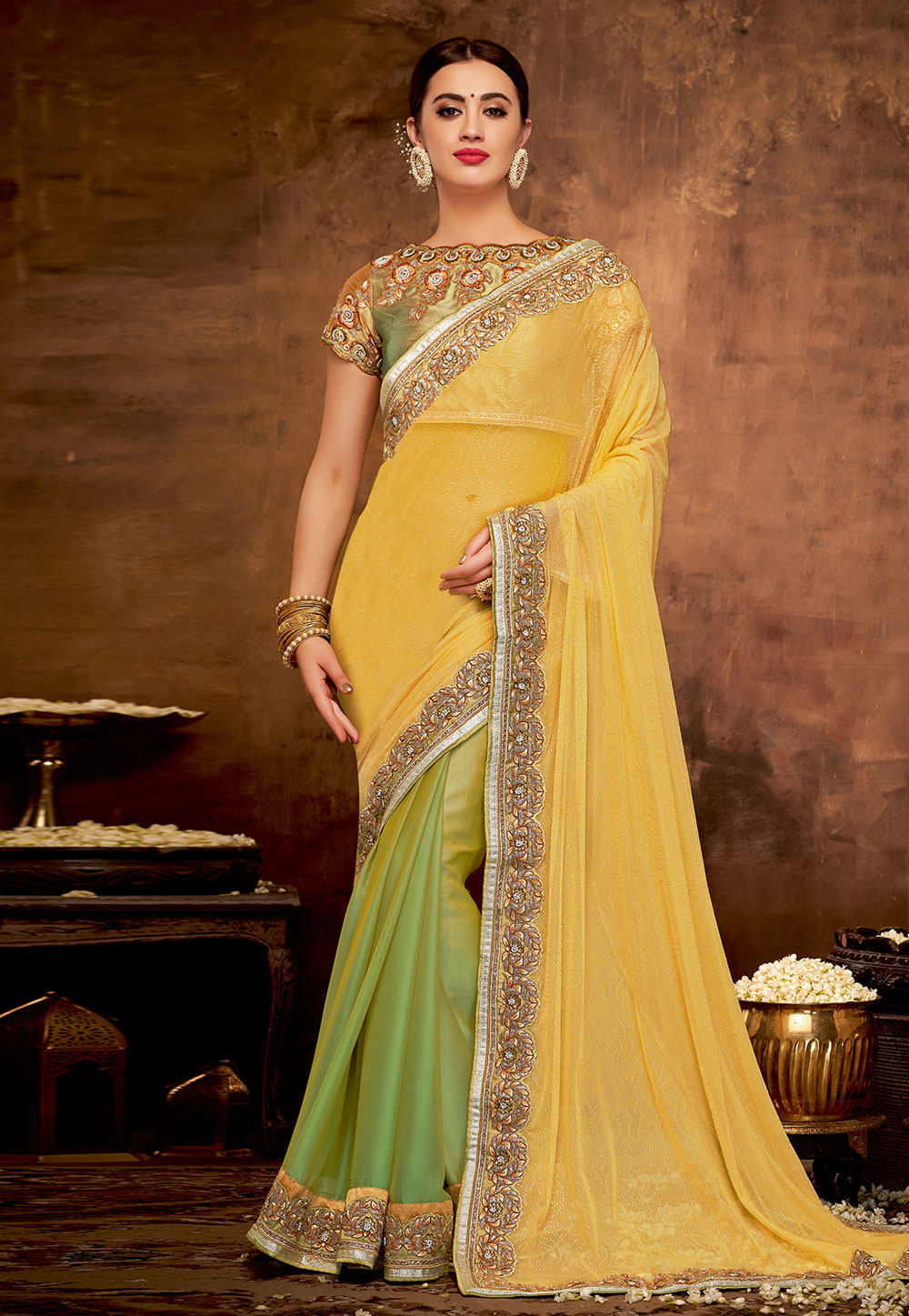 Yellow Georgette Half and Half Saree 190539