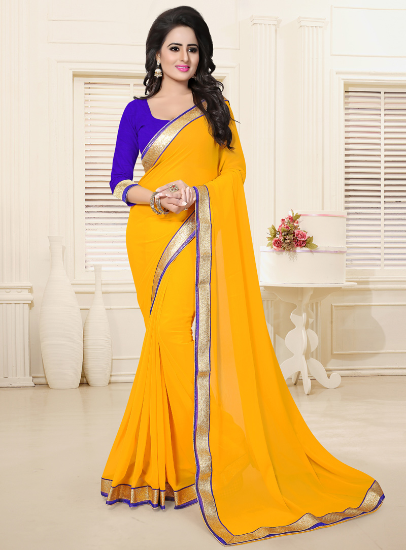 Yellow Georgette Patch Lace Work Saree 114632