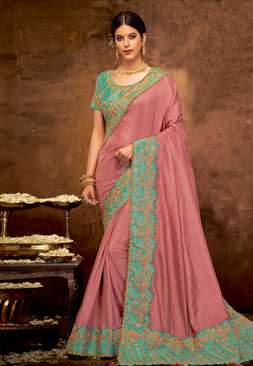 Pink Silk Festival Wear Saree 190548