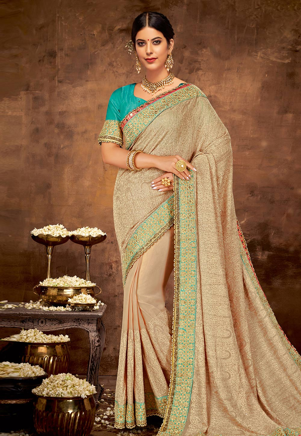 Beige Georgette Party Wear Saree 190552