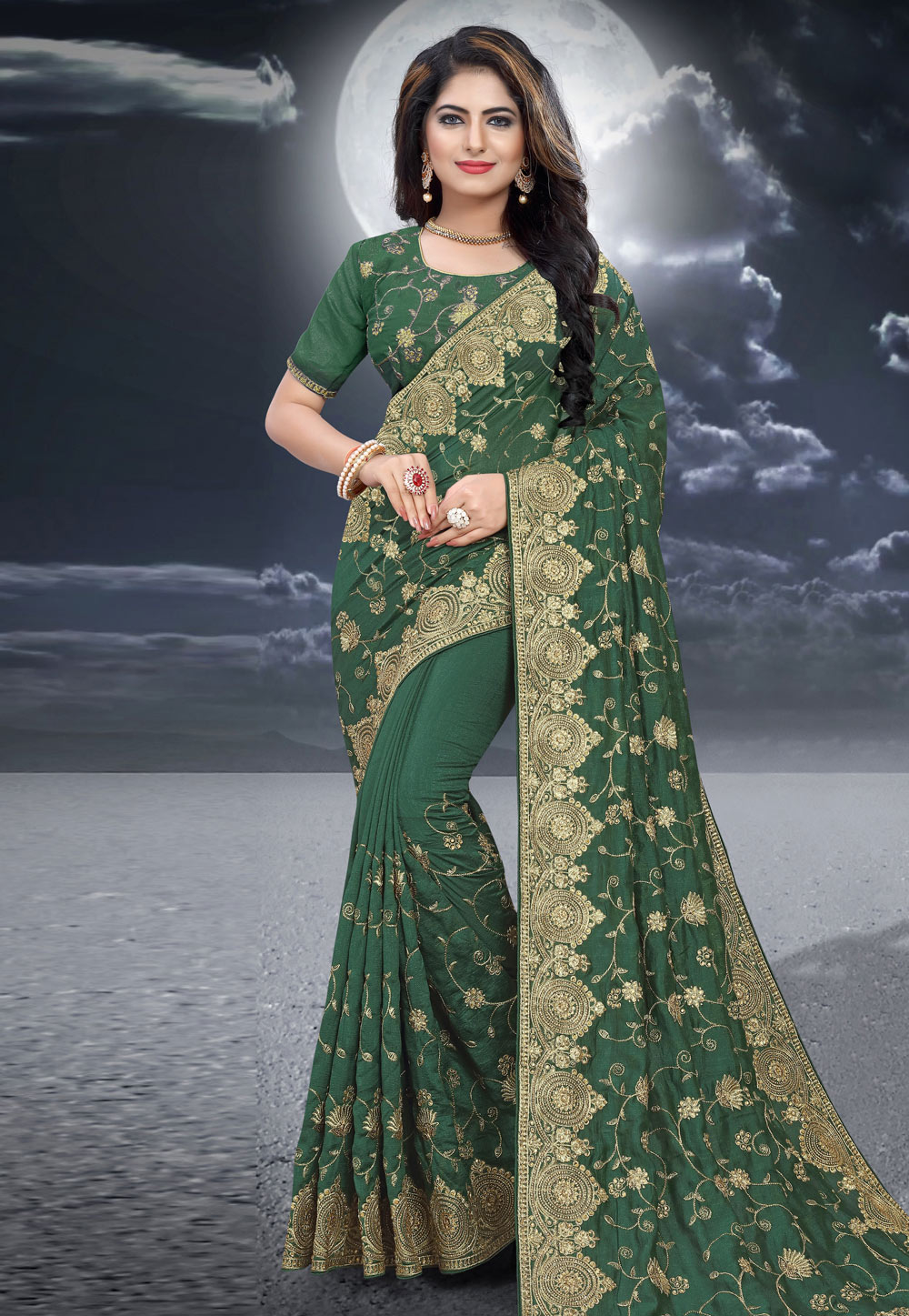 Green Silk Saree With Blouse 204516