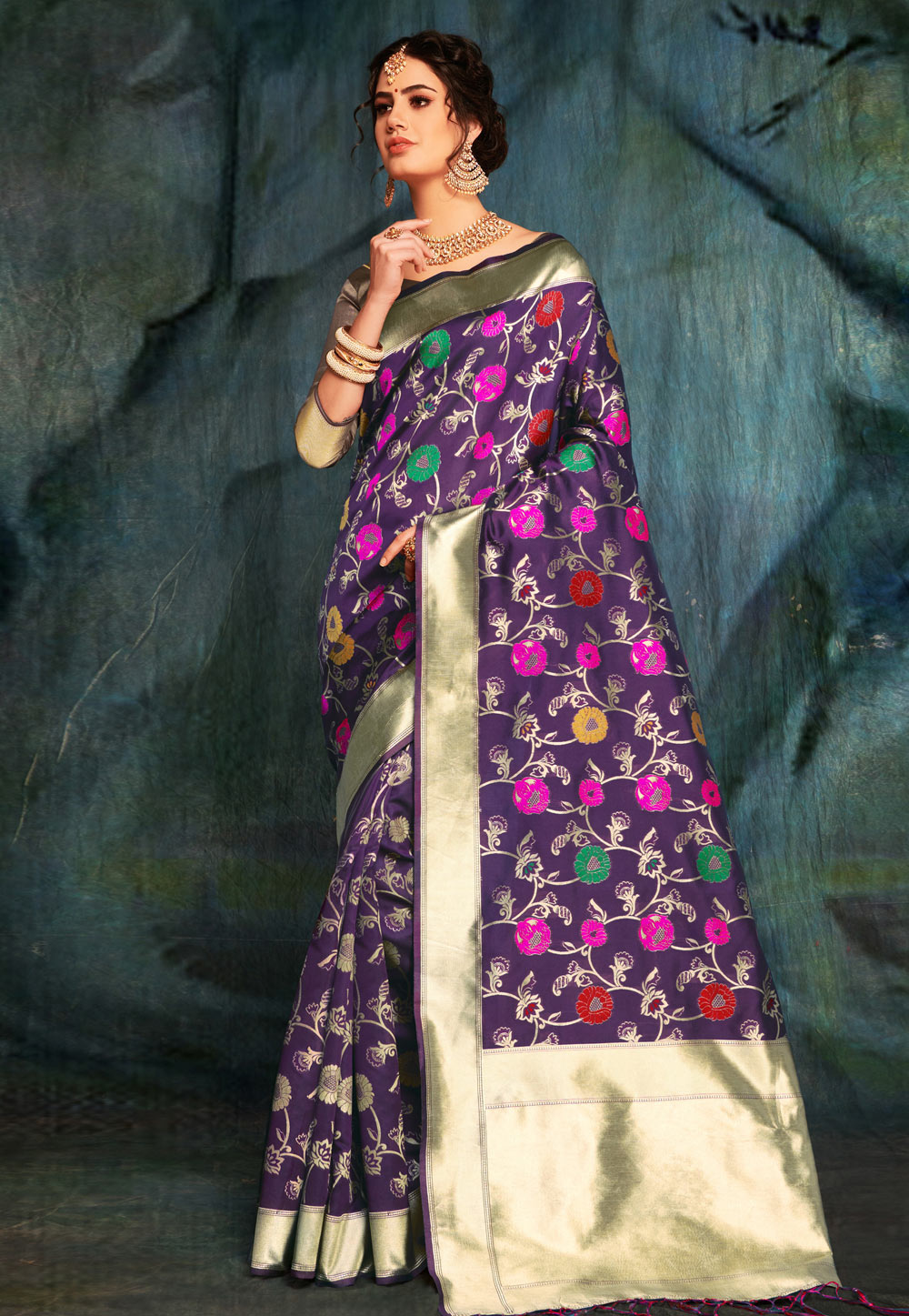 Purple Banarasi Silk Festival Wear Saree 161648