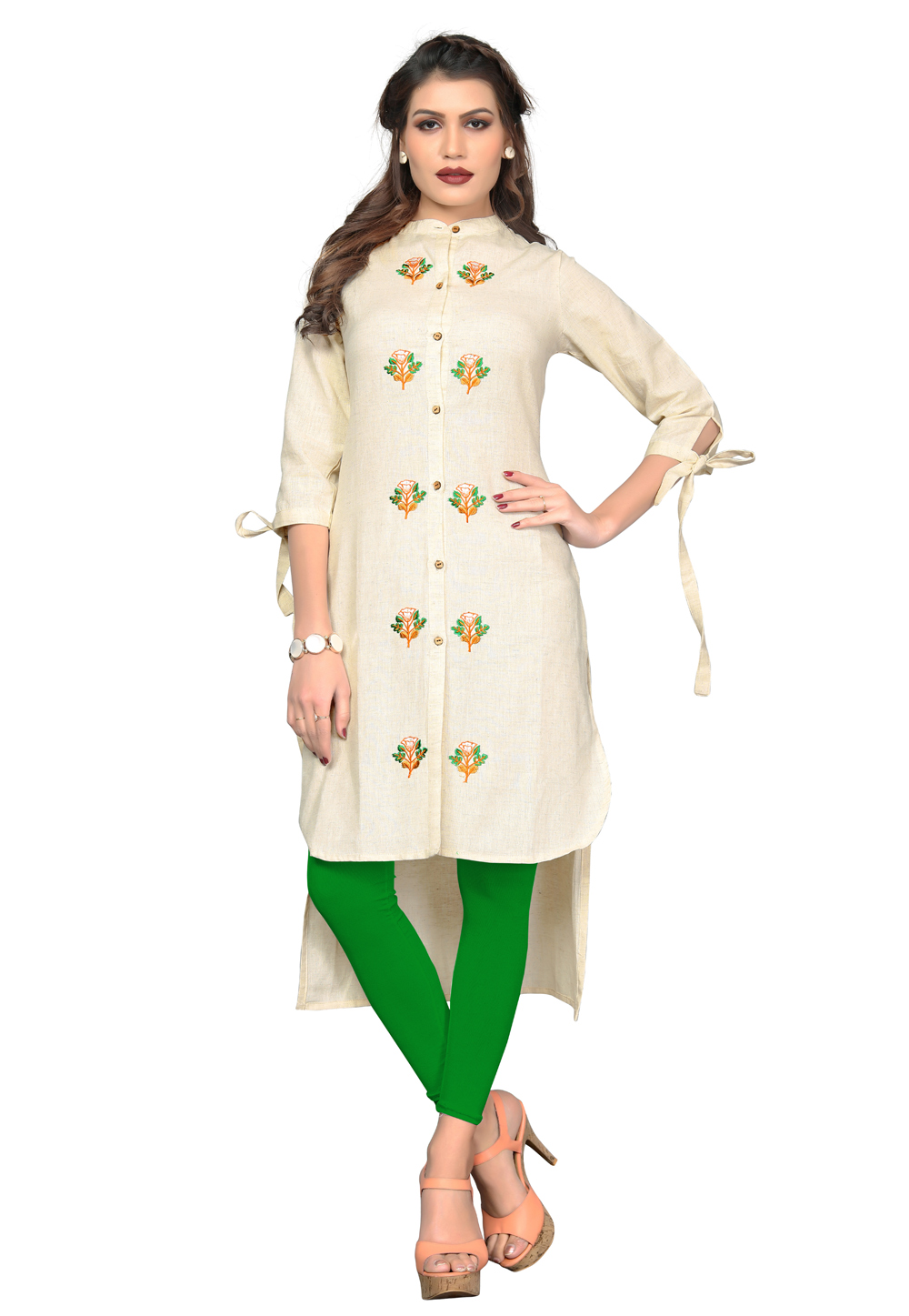Cream Cotton Readymade Tunic 162240